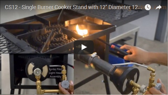 CS12 – Single Burner Cooker Stand with 12 in Diameter 120,000 Btu/hr Burner for Low Pressure or Natural Gas