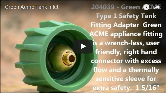 Green Acme Type 1 Wrench-less Tank Connector