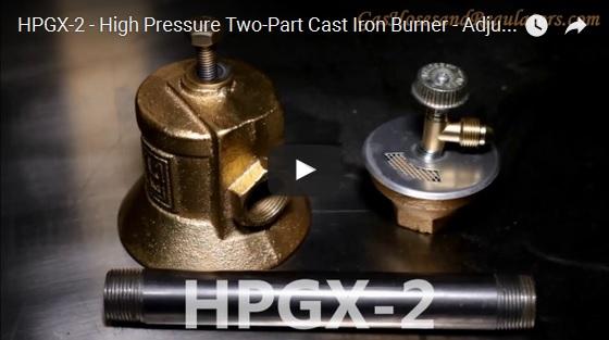 HPGX-2 - High Pressure Two-Part Cast Iron Burner - Adjustable Length Neck
