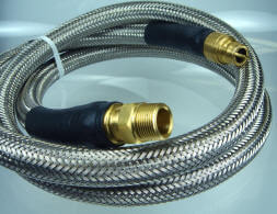 "100607 - Generator 3/4"" ID Quick Disconnect Hose with Stainless Steel Overbraid for Low Pressure Propane or Natural Gas. (3/4"" QD Male Plug x 3/4"" Male NPT Swivel)."