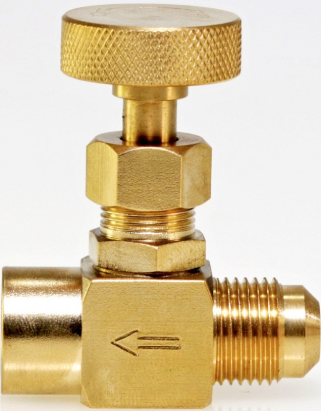 "G-950-BRF-MB  3/8"" male Gas Flare x 1/4"" female NPT Machined Brass Gas Needle Valve"