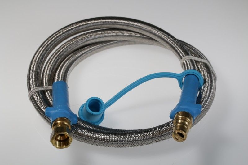 "100NP462 - 3/8"" ID Natural Gas or Low Pressure Propane Quick Disconnect Hose , 3/8"" Female Gas Flare Swivel x 3/8"" QD Male Plug with Stainless Steel Overbraid."
