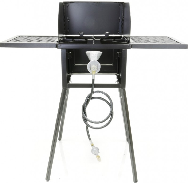 Cooker Stand COMBO, Single Burner. For High Pressure, Low Pressure or Natural Gas. Includes (4) Leg Extensions, Wind Guard, (2) WINGS and Regulator Assembly or 5ft Natural Gas Hose.