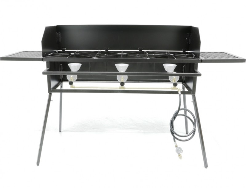 Cooker Stand COMBO, Triple Burner. For High Pressure, Low Pressure or Natural Gas. Includes (4) Leg Extensions, Wind Guard, (2) WINGS and Regulator Assembly or 5ft Natural Gas Hose.