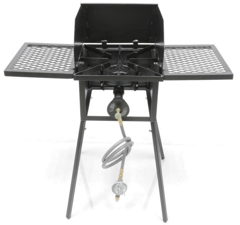 "Low Pressure or Natural Gas Cooker Stand COMBO Series with 8"" Diameter 80,000 Btu/hr Burners. Includes (4) Leg Extensions, Wind Guard, (2) WINGS and Regulator Assembly or 5ft Natural Gas Hose."