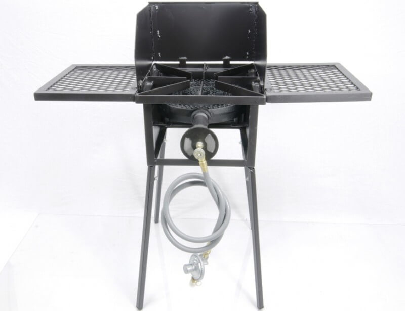 "Low Pressure or Natural Gas Cooker Stand COMBO Series with a 12"" Diameter 120,000 Btu/hr Burner. Includes (4) Leg Extensions, Wind Guard, (2) WINGS and Regulator Assembly or 5ft Natural Gas Hose."