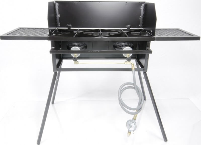 Cooker Stand COMBO, Double Burner. For High Pressure, Low Pressure or Natural Gas. Includes (4) Leg Extensions, Wind Guard, (2) WINGS and Regulator Assembly or 5 ft Natural Gas Hose.