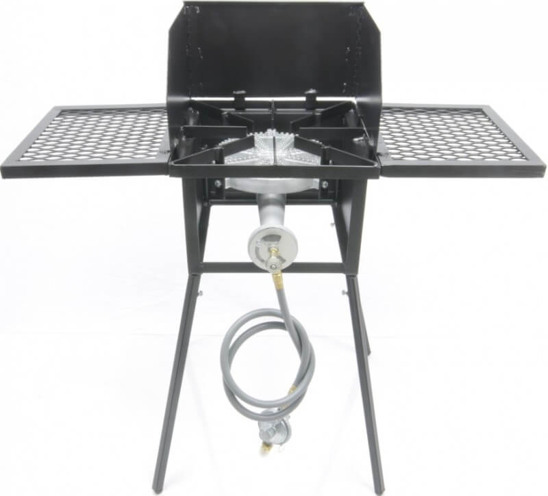 "Low Pressure or Natural Gas Cooker Stand COMBO Series with 10"" Diameter 100,000 Btu/hr Burners. Includes (4) Leg Extensions, Wind Guard, (2) WINGS and Regulator Assembly or 5ft Natural Gas Hose."