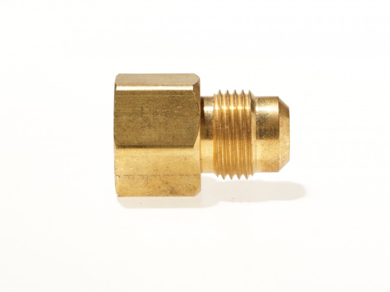 "46-8D - Brass Adapter, 1/2"" Female NPT x 1/2"" Male Gas Flare."