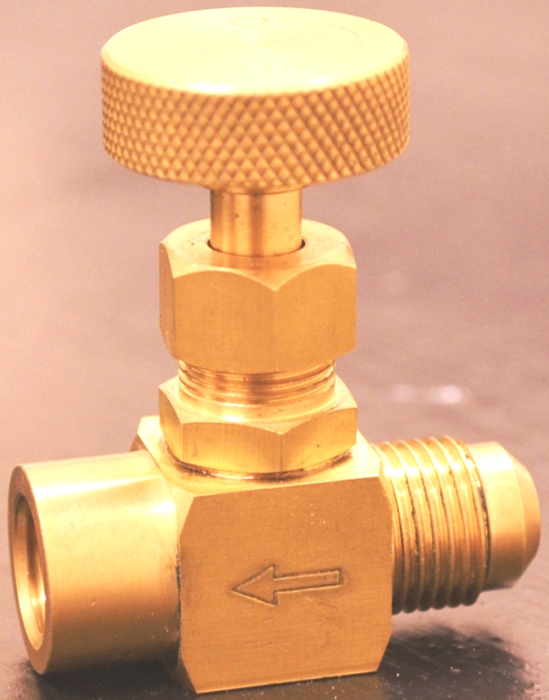 Precision machined brass needle valve 3/8 inch male Gas Flare x 1/4 inch female NPT