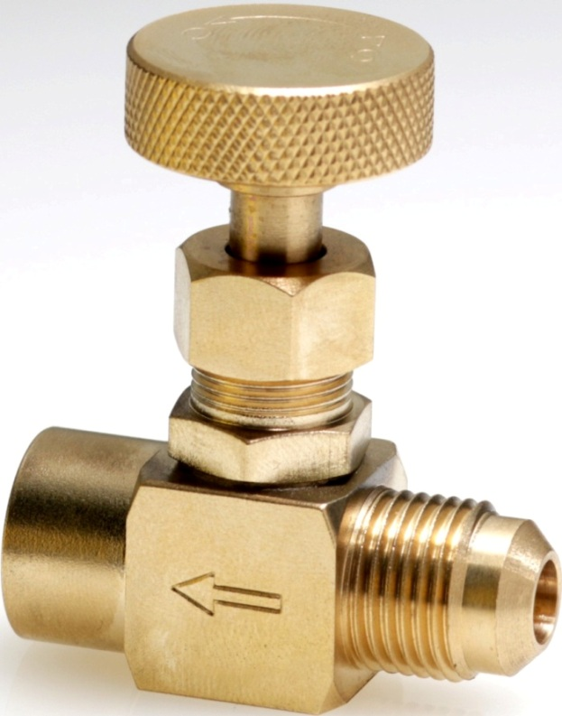 Gas needle valve of machined brass