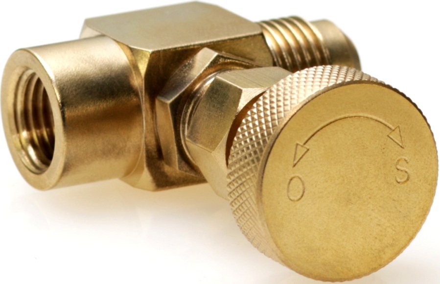 easy grip brass knob on machined brass gas needle valve