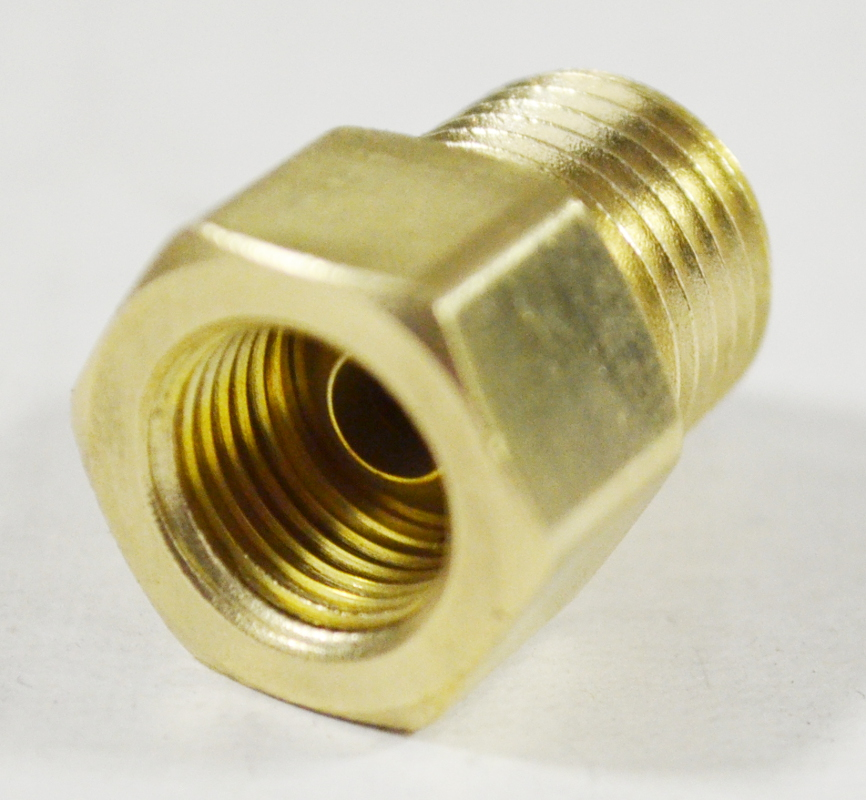 1/4 Brass Adapter (Safety Flow), 1/4 Male NPT Adapter x 1/4 Female Inverted Flare