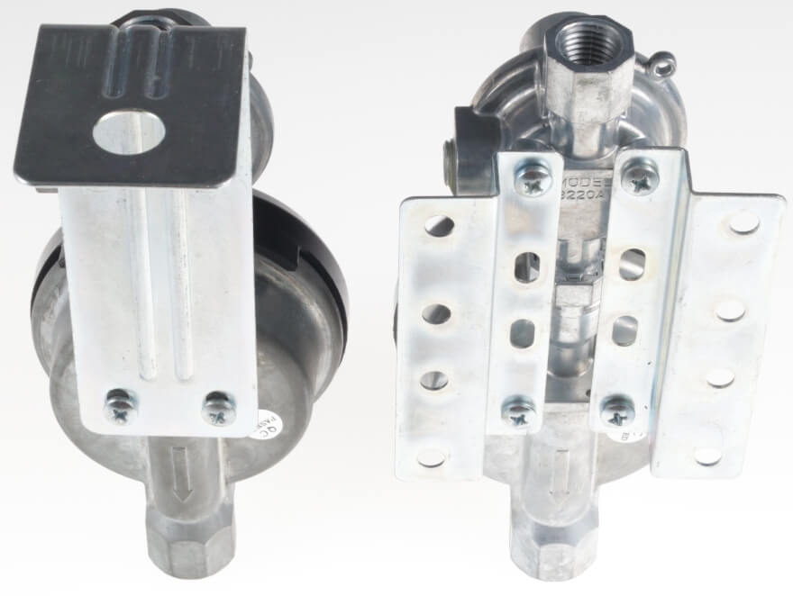 Twin Stage Regulators Mounted on Two Different Styles of Mounting Brackets
