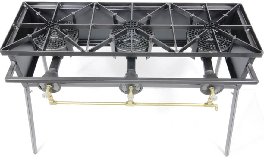 Triple Burner Cooker Stand with  8 inch Diameter Burners
