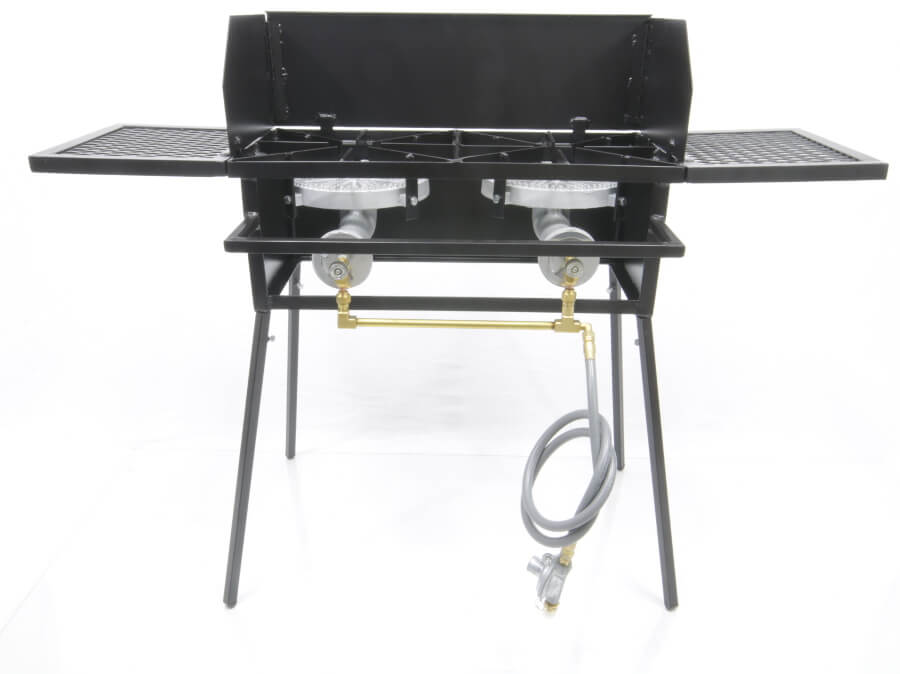 Double Burner Cooker Stand with  10 inch Burners COMBO