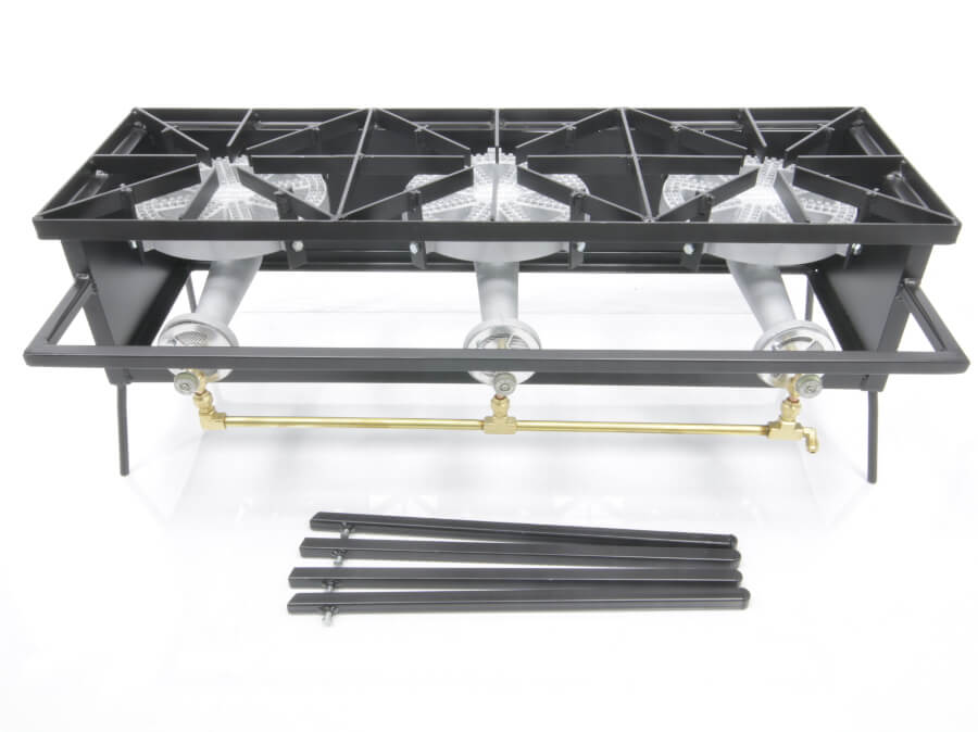Triple Burner Cooker Stand with 10 inch Diameter Burners